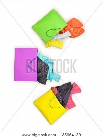 packages with clothing isolated on a white background