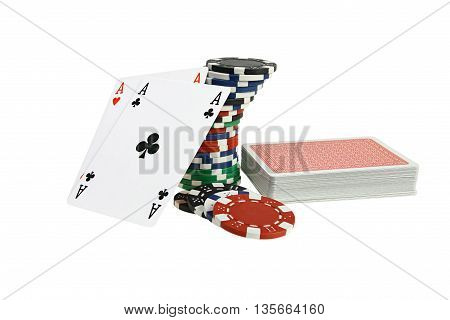 Poker playing card and chips on white background with clipping path