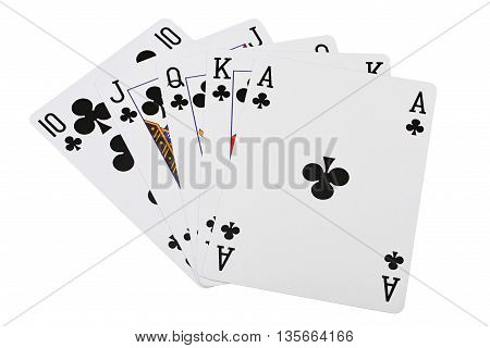 Playing card poker combination royal flush of clubs on white background with clipping path