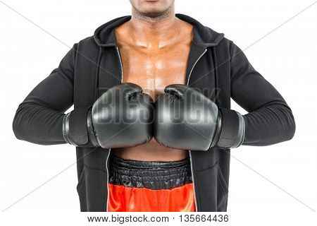 Boxer in black jacket preparing for the tournament on white background