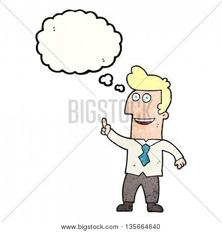 freehand drawn thought bubble textured cartoon businessman pointing
