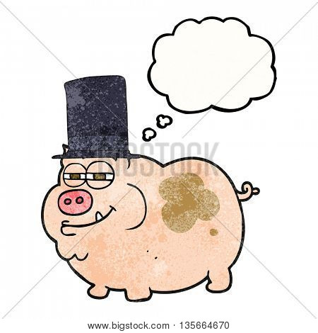 freehand drawn thought bubble textured cartoon rich pig