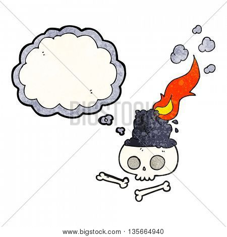 freehand drawn thought bubble textured cartoon burning candle on skull