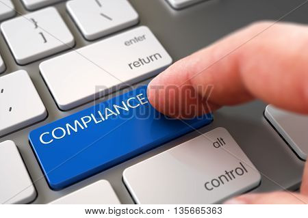 Hand Touching Compliance Keypad. Selective Focus on the Compliance Keypad. Hand Finger Press Compliance Button. Man Finger Pushing Compliance Blue Keypad on Modern Keyboard. 3D Illustration.