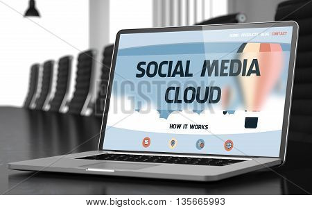 Social Media Cloud Concept. Closeup of Landing Page on Laptop Screen in Modern Meeting Room. Blurred Image. Selective focus. 3D Illustration.