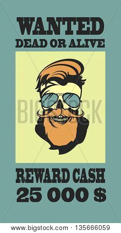 ad Wild West bandit sought for compensation skull with beard and mustache in retro style