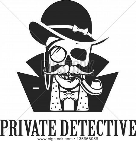 vector illustration of a skull with a pipe and a private investigator hat on a white background