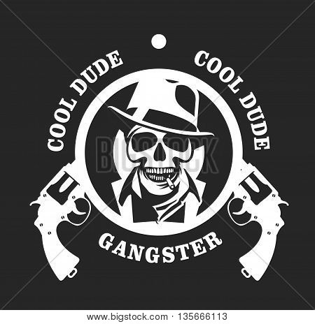 vector gangster emblem with two pistols black and white