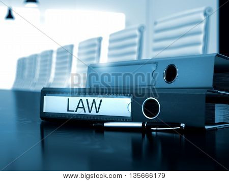 Law - Business Illustration. Law. Illustration on Toned Background. File Folder with Inscription Law on Black Wooden Desktop. Law - Office Folder on Wooden Desk. 3D.