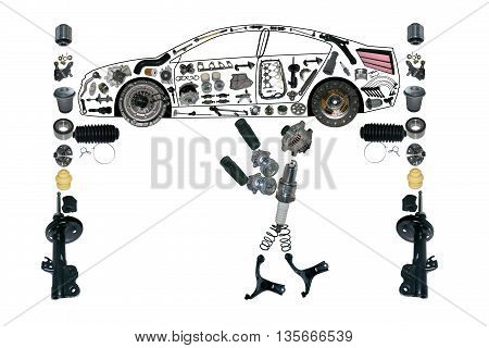Image mechanic working under the car on the service. Smith machine repairs. Auto spare parts items in car.  OEM spare parts