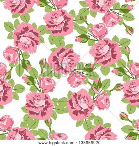Roses flowers seamless pattern. Vector illustration, EPS 10