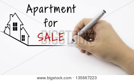 Apartment For SALE - Real Estate concept with female hand and pen