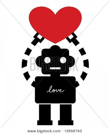 robot with heart card design