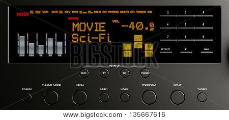 electronic home cinema system multimedia 3d illustration
