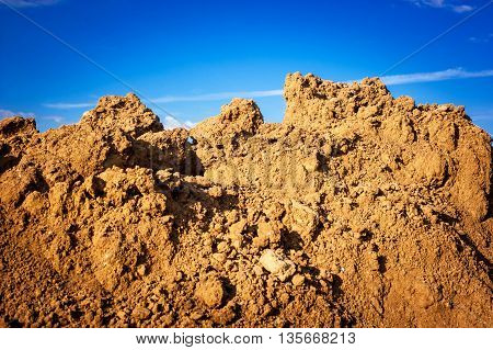 Geological Soil Cut On Blue Sky Background.