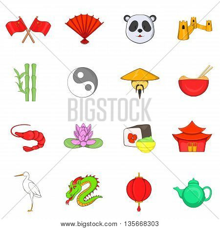 China icons set in cartoon style isolated on white background