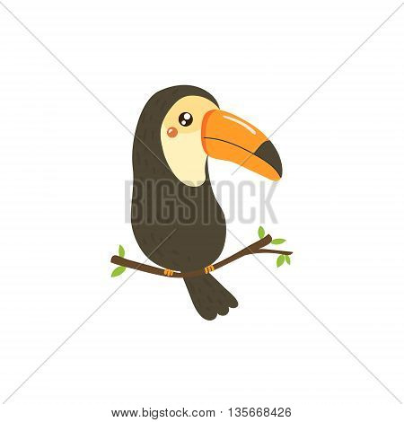 Toucan Realistic Childish Illustration In Simple Cute Vector Design Isolated On White Background
