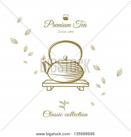 Tea design cover. Kettle on stand with leaves. Tea vector engraving illustration.
