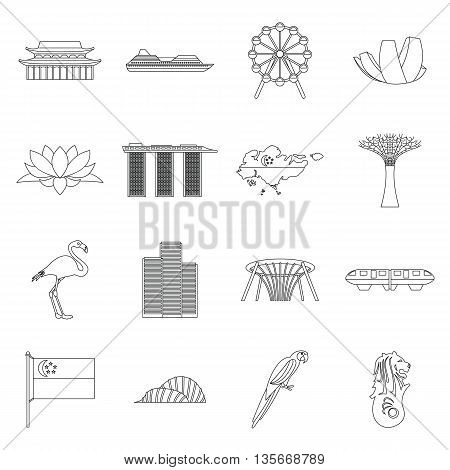 Singapore icons set in outline style isolated on white background
