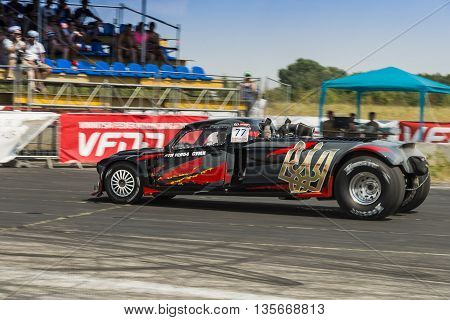 VinnytsiaUkraine-July 26 2015: Drag racing car during the races of the Drag championship of Ukraine on July 262015 in Vinnytsia Ukraine.