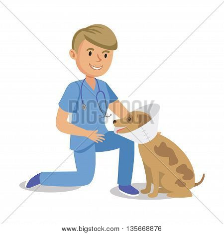 Boy holding dog. Pet doctor. Cartoon veterinarian healing dog. Vector illustration