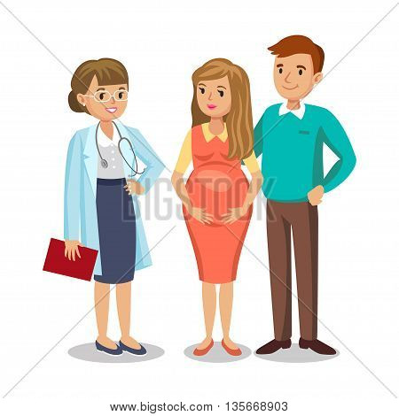 Family visiting doctor in clinic expectant parents pregnant woman with her husband. People couples vector illustration