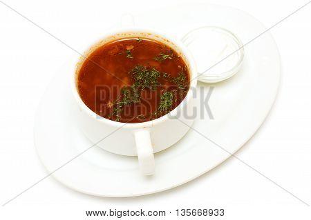 Borscht soup and sour cream russian cuisine