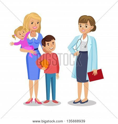 Woman with children visit doctor. Mother and her babies with pediatrist. Vector illustration