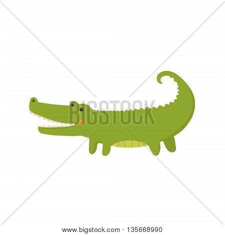 Crocodile Realistic Childish Illustration In Simple Cute Vector Design Isolated On White Background