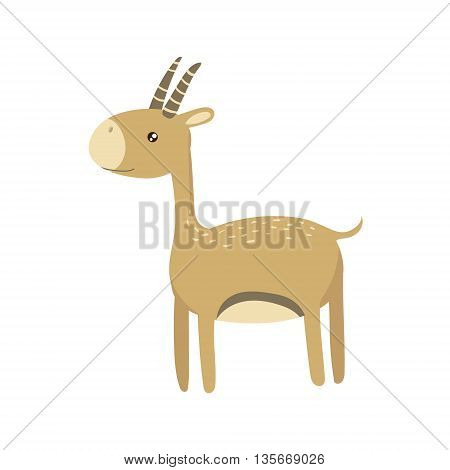 Gazelle Realistic Childish Illustration In Simple Cute Vector Design Isolated On White Background