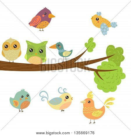 Different Cute Bird Chicks Sitting And Flying Around Tree Branch Childish Style Design Vector Illustration On White Background