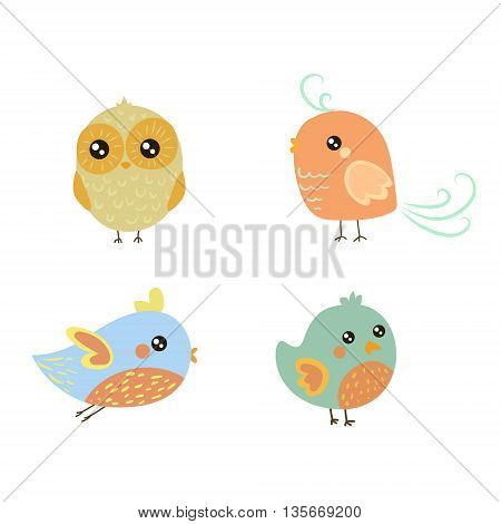 Four Cute Bird Chicks Set Of Isolated Childish Style Simple Shape Design Vector Icons On White Background