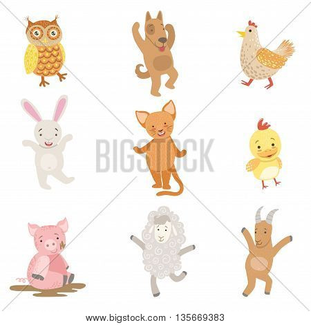 Humanized Animals Collection Of Artistic Funny Stickers In Childish Design Vector Isolated On White Background