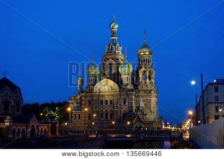 St. Petersburg, Russia, June 20,2016: The church of the Savior of the Spilled Blood at a white night in the morning at 2.30.
