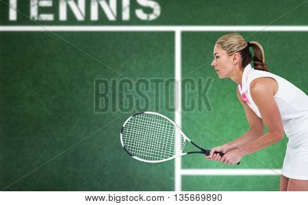 Athlete playing tennis with a racket against digital image of tennis field