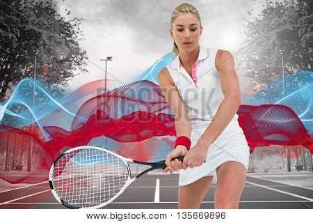 Athlete playing tennis with a racket against composite image of tennis field on a sunny day