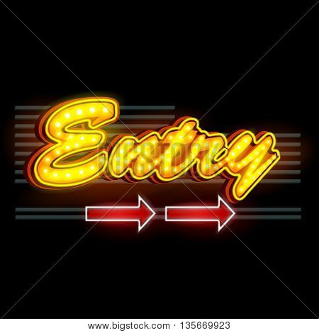 easy to edit vector illustration of Neon Light signboard for Entry banner