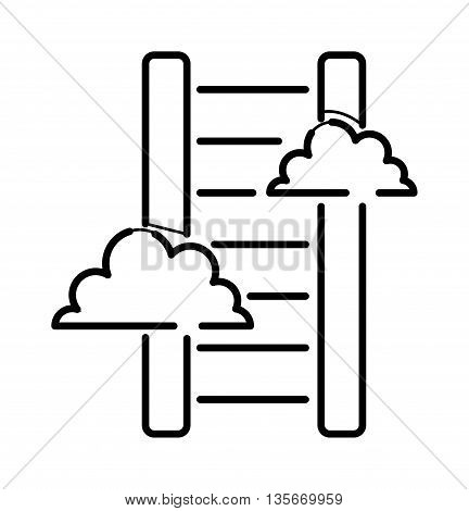 Career stair thin icon isolated thin line black color graphic concept design vector. Stair thin icon with clouds and step ladder stair thin icon. Stairway improvement tool stair thin icon success.