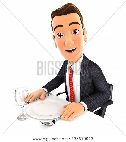 3d businessman ready for dinner isolated white background