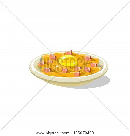 Traditional Italian Pasta Carbonara Simplified Flat Vector Icon Isolated On White Background