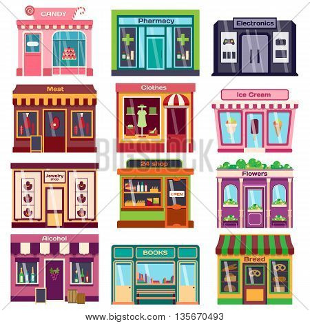 Set of vector flat design restaurants and shops facade icons. Includes bakery, pharmacy, electronics store, ice cream shop, book shop facade, butcher shop, trendy clothing store, jewelry store facade.