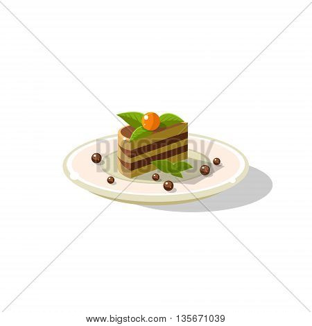 Traditional Italian Layered Cake Dessert Simplified Flat Vector Icon Isolated On White Background