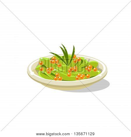 Traditional Italian Pasta With Fish Eggs Simplified Flat Vector Icon Isolated On White Background
