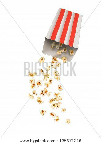 Popcorn with flying kernels from red white cardboard box