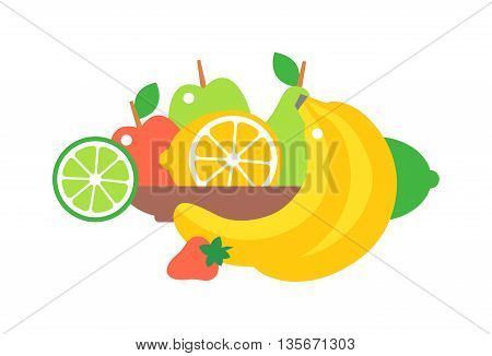 Big plate with lots of healthy fruits over white background. Fruit plate vector illustration organic nutrition healthy food. Dessert citrus vegetarian red strawberries, tasty pear on fruit plate.