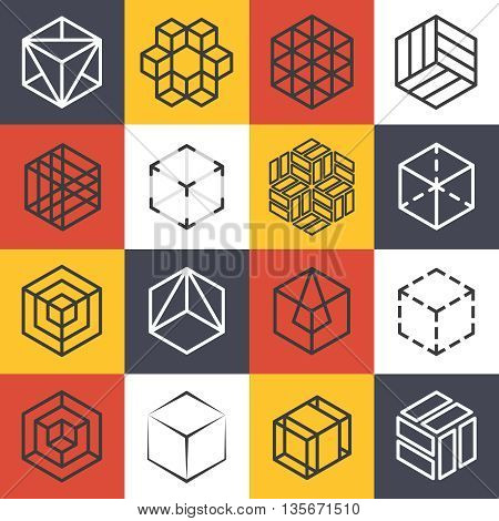 Architecture and interior studios or construction company line logo templates with 3D isometric cubes. Logo company cube,  symbol cube company, line cube emblem, isometric cube vector illustration