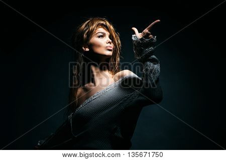 Sexy Woman Pointing Finger
