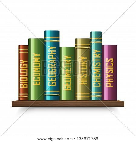 Stack of multi colored book isolated on a white background.