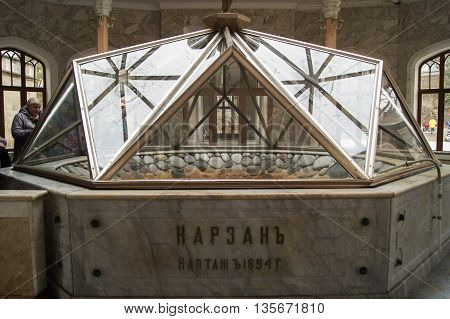Kislovodsk, Russia - 28 February, Marble Front source under a glass cover, 28 February, 2016. Resort zone Mineral Waters, Krasnodar region. Interior Narzan gallery in mineral waters.