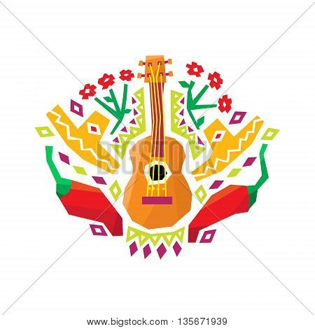 Chili Pepper, Guitar And Sombrero Stylized Colorful Geometric Flat Vector Design Mexican Pattern On White Background